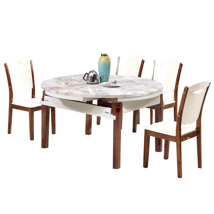 Marble Surface Round Dining Set