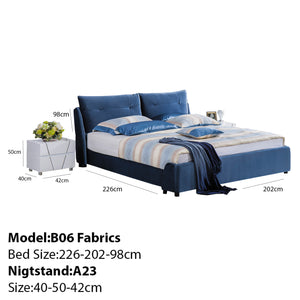 Alpine Tufted Upholstered Platform Bed and Nightstand