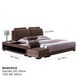 Brown Upholstered Bed and Sofa.