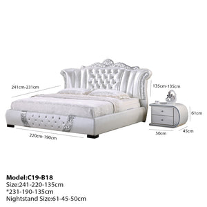 White Pavilion Button Tufted Upholstered Leather Bed