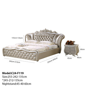 Pavilion Button Tufted Upholstered Leather Bed