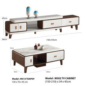 Contemporary Glass stone top Teapoy and TV cabinet