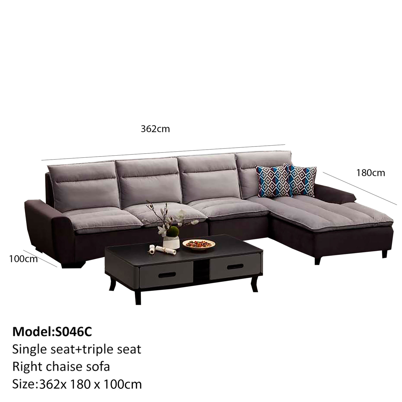 Velvet Fabric Single Seat Triple Seat Right Chaise Sofa Bed Iii