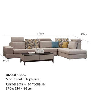 Contemporary Right Hand Sofa Chaise