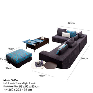Luxurious 3 Double Seat+ Footstool Sofa Set