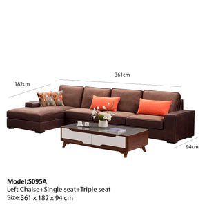 Jack Hand-crafted Single seat+ Triple seat+ Left chaise sofa