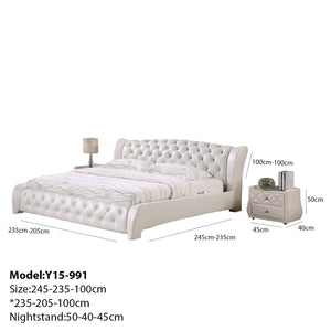 Cassie Tufted Upholstered Leather Bed