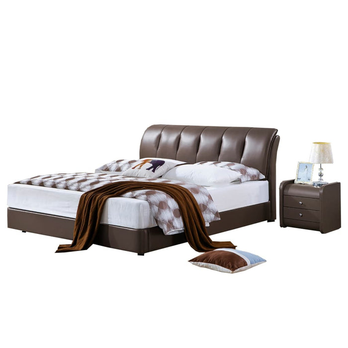 Abel Sleigh Upholstered Bed and Nightstand