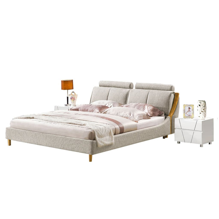 Amini Upholstered Platform Bed and Nightstand
