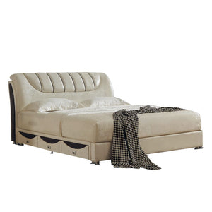 Beige Leather Platform Bed - Best Wish Shopping