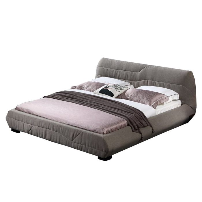 Biege Upholstered Panel Queen-Size Bed