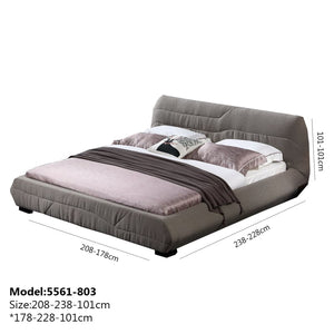 Biege Upholstered Panel Queen-Size Bed - Best Wish Shopping