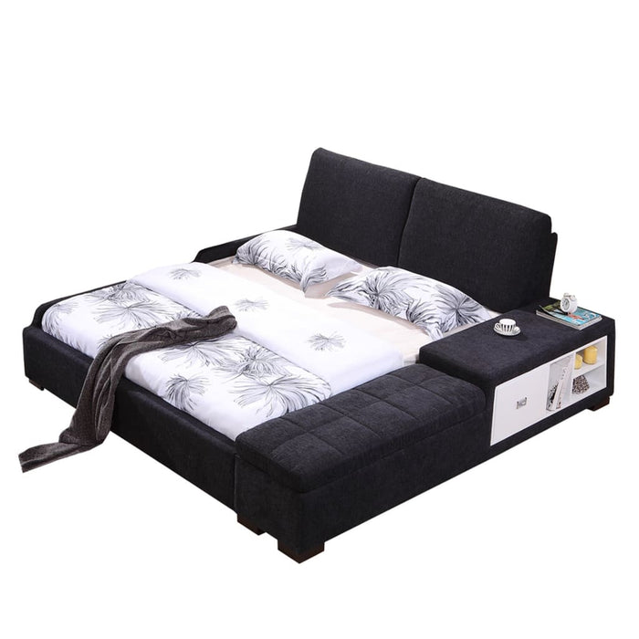 Black Upholstered king-size Bed and Sofa