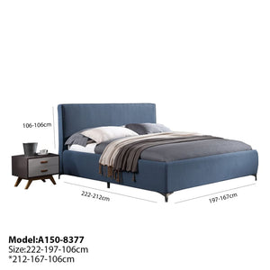 Blue fabric design Queen-Size Bed - Best Wish Shopping