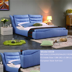 Cali Skye Blue Fabric Soft Bed - Best Wish Shopping