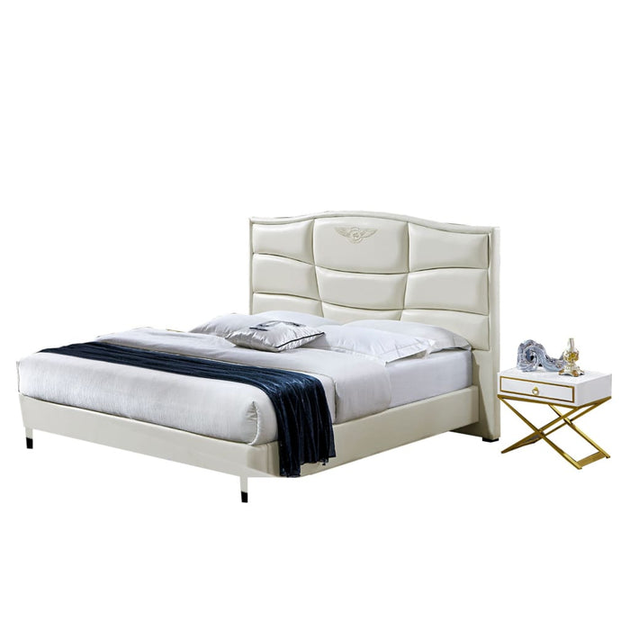 Carter Upholstered Panel Bed and Nightstand