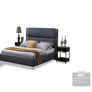 Chambery Upholstered Leather Bed with Nightstand - Best Wish Shopping