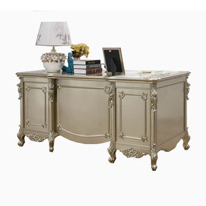 Champagne Silver Solid Wood Desk - Best Wish Shopping