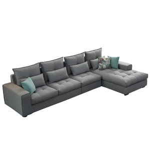 Classic Gray Tufted Right Chaise  Sofa Bed - Best Wish Shopping