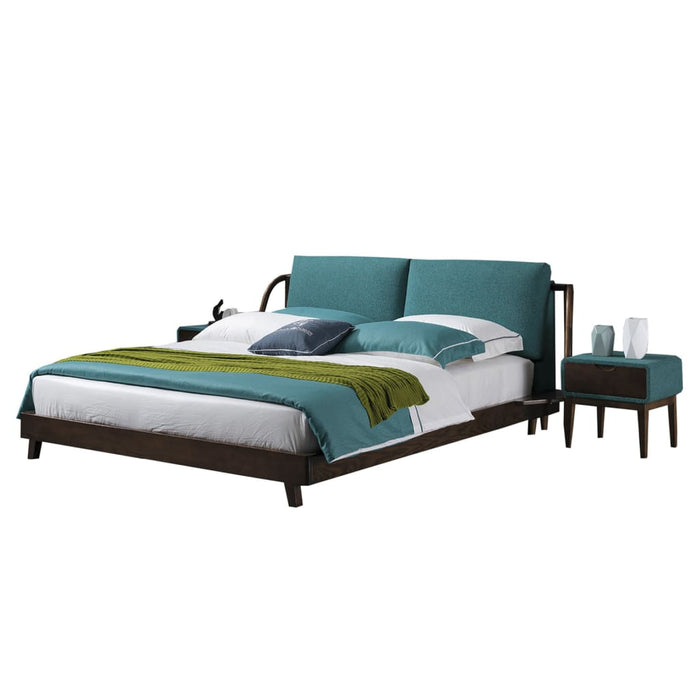 Downen Linen Upholstered Panel Bed and Nightstand
