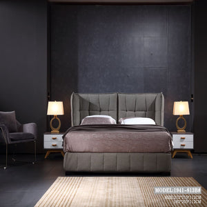 Gray and Pink Upholstered Panel Bed - Best Wish Shopping