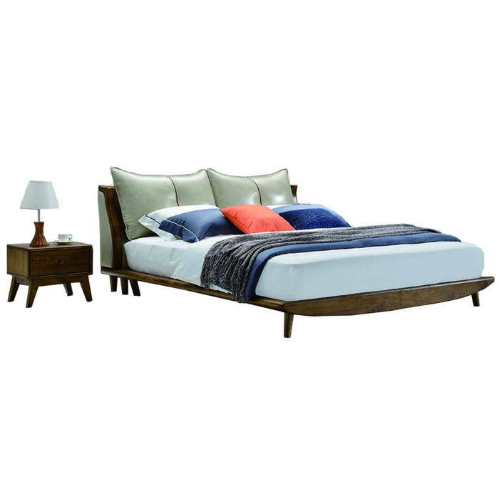 Gray High Pillow Platform Bed