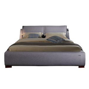 Gray Upholstered Platform King-size Bed - Best Wish Shopping