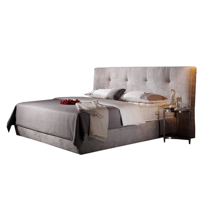 Gray Upholstered Tufted king-size Bed
