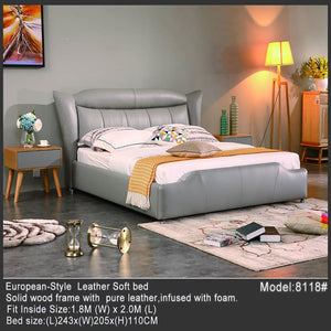 Grey High Pillow Leather Bed - Bed