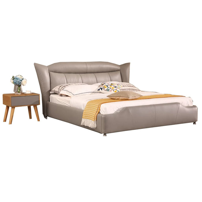 Grey High Pillow Leather Bed