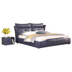 Lavender High Pillow Leather Bed - Bed