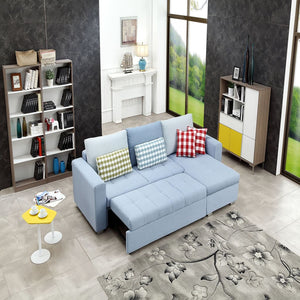 Light Blue Sofa Bed and storage chaise - Best Wish Shopping