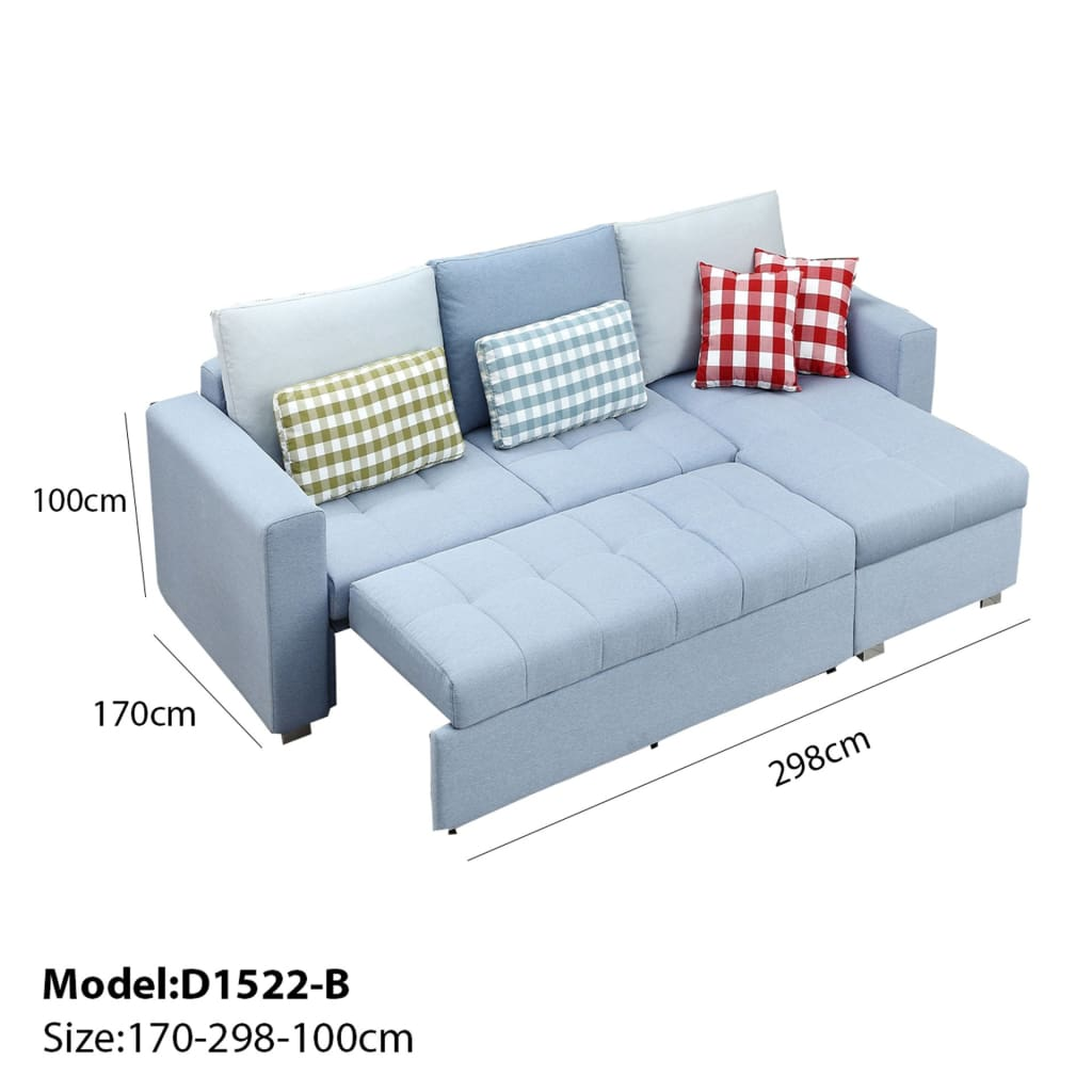 Light Blue Sofa Bed And Storage Chaise