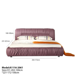 Lilac Upholstered Panel Queen-sized Bed - Best Wish Shopping