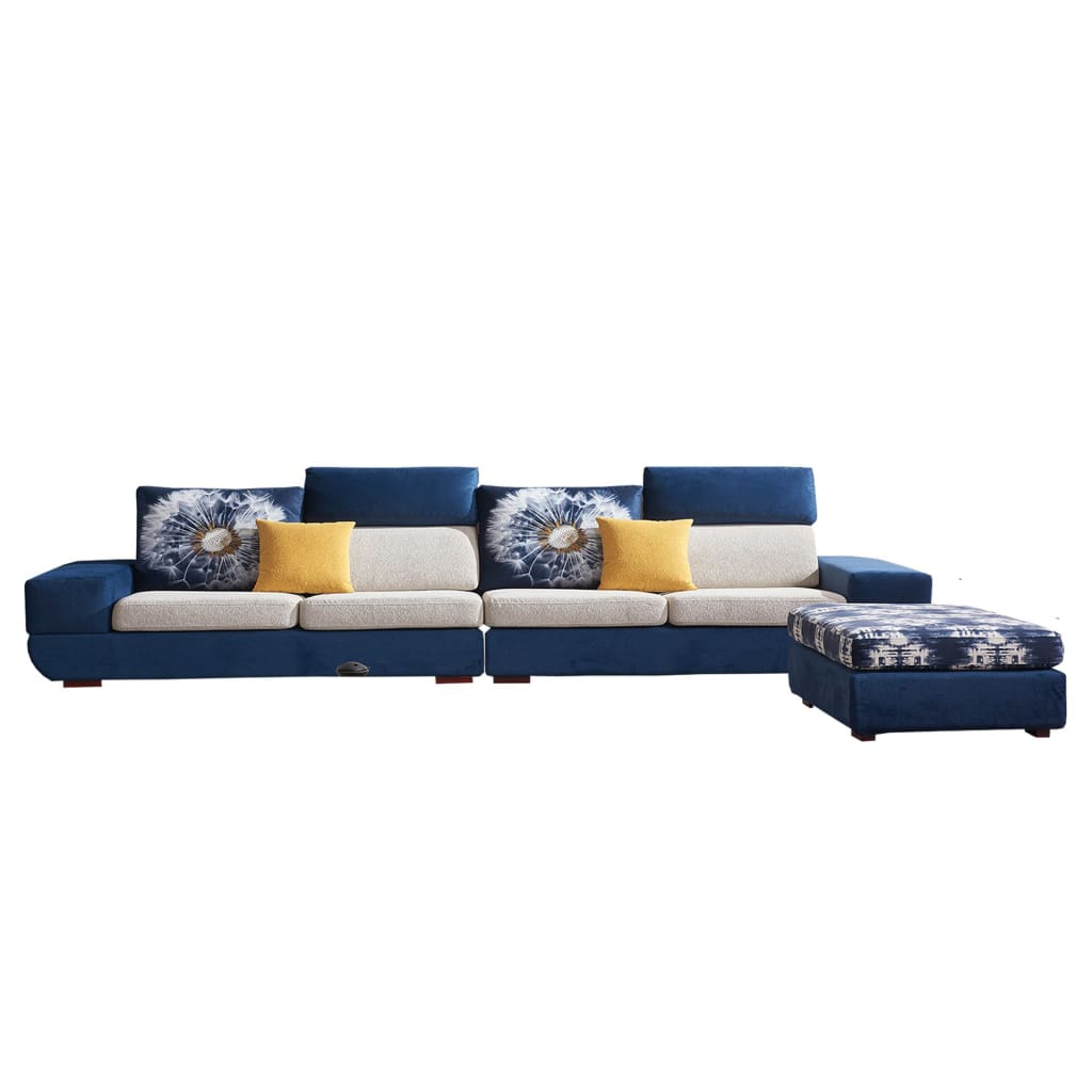 Luxurious Blue And White Sofa Bed