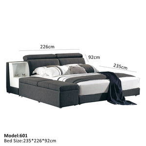 Midnight Black Fabric Soft Bed - Best Wish Shopping