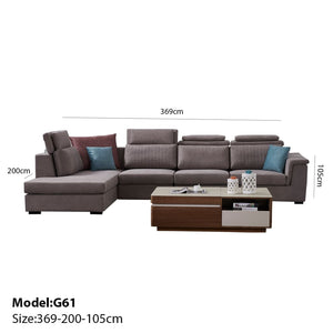 Modular Ash color  sofa chaise +  3-seat+sofa-bed - Best Wish Shopping