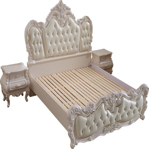 Queen White Upholstered Panel Bed