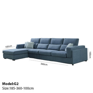 Oslo Grayish Blue Sectional Sofa - Best Wish Shopping