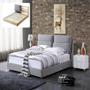 Pamela Upholstered Platform Bed with Nightstand - Bed