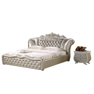 Pavilion Button Tufted Upholstered Leather Bed - Bed