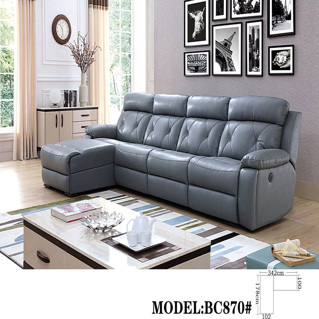 Pluto Reclining Modular Leather Sectional Sofa Chaise