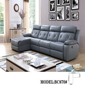 Pluto Reclining Modular Leather Sectional Sofa Chaise - Manual Recliner