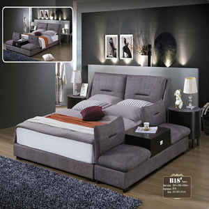 Porch Linen Upholstered Drawer Bed with Nightstand - Bed