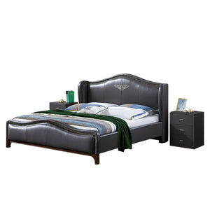 Pulaski Upholstered Panel Leather Bed with Nightstand - Bed