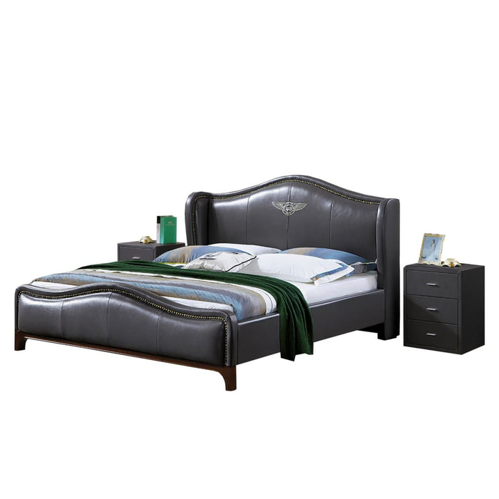 Pulaski Upholstered Panel Leather Bed with Nightstand