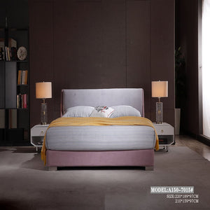 Purple Upholstered Panel Bed - Bed