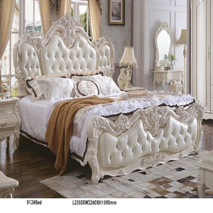 Queen size white Upholstered Panel Bed - Bed