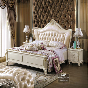 Roman Style Upholstered Panel Bed with Night Stand - Bed