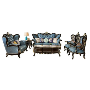 Royal antique Blue wooden leather sofa - Sofa set